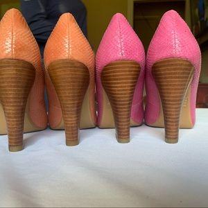Two pair of Restricted snakeskin heels